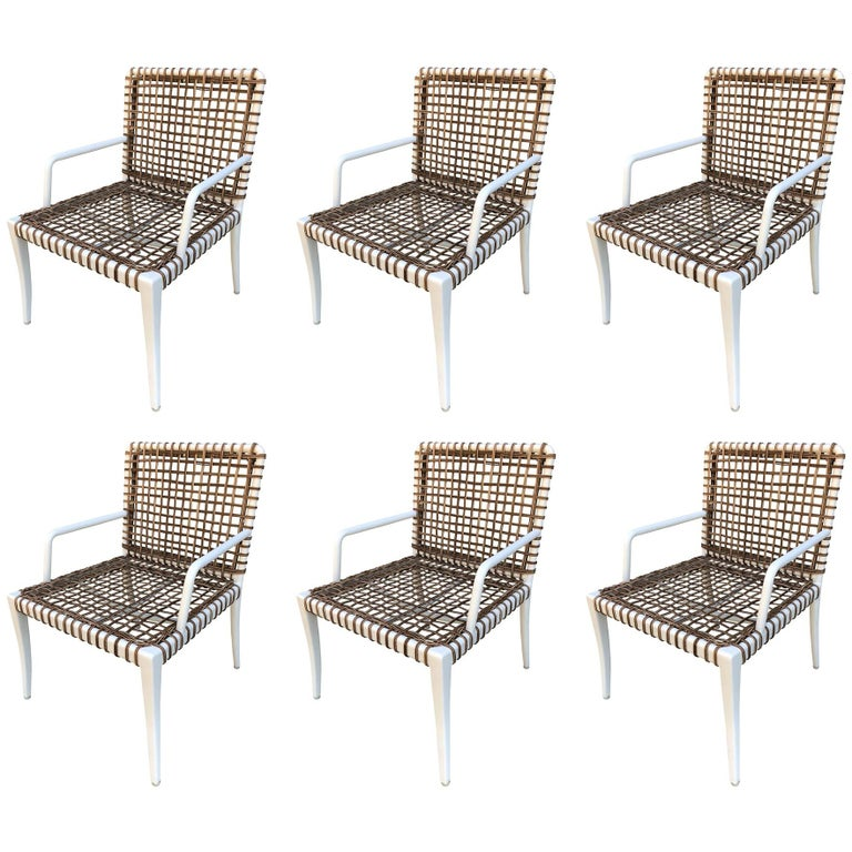 Set Of 8 Modern Armchairs In Powder Coated Steel And Wicker For Sale