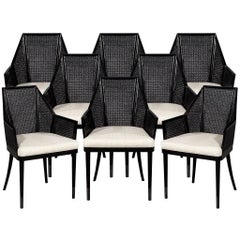 Set of 8 Modern Black Cane Dining Chairs by Baker Kara Man