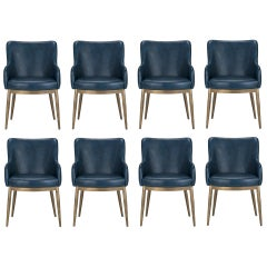 Set of 8, Modern Dining Chairs in Distressed Blue and Antique Brass