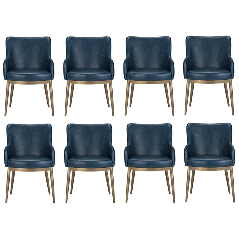 Set of 8, Modern Dining Chairs in Distressed Blue and Antique Brass For Sale