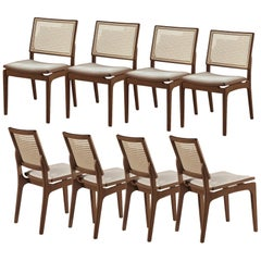 Set of 8, Modern Dining Chairs with Woven Back