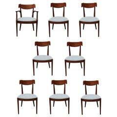 Set of 8 Modern Drexel Declaration Walnut Modern Dining Room Chairs