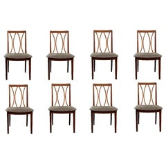 Set of 8 Modern G-Plan Curve Back Afrormosia Dining Chairs by E. Gomme