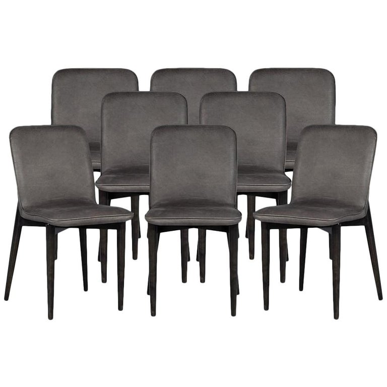 Terrific Set Of 8 Modern Leather Dining Chairs By Carrocel Squirreltailoven Fun Painted Chair Ideas Images Squirreltailovenorg