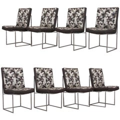 Set of 8 Modern Milo Baughman for Thayer Square Chrome Framed Dining Chairs