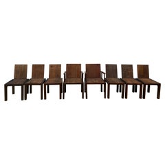 Set of 8 Modern Rustic Organic Dining Chairs Solid Wood with Butterfly Details