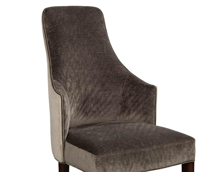 Set of 8 Modern Sleek Upholstered Dining Chairs For Sale 5
