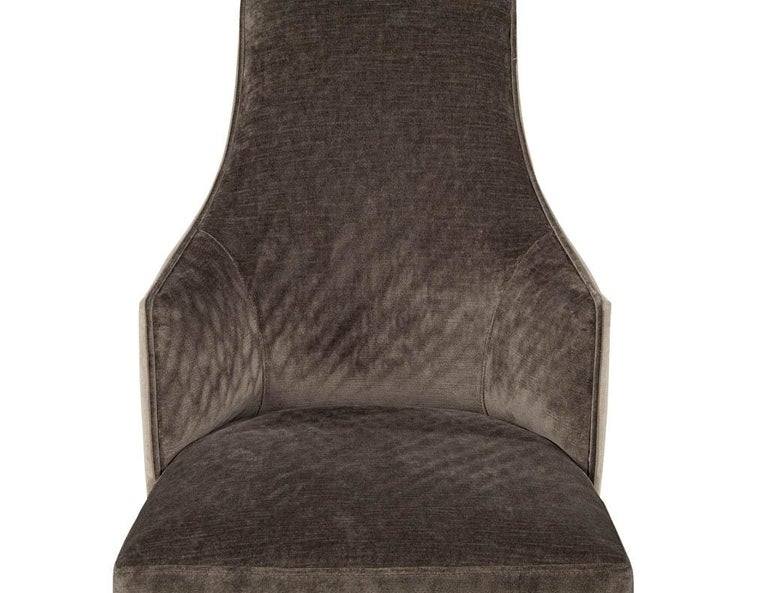 Set of 8 Modern Sleek Upholstered Dining Chairs For Sale 6