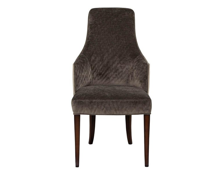 Set of 8modern sleek upholstered dining chairs. Beautiful textured weave fabric design with rich walnut wood finish.