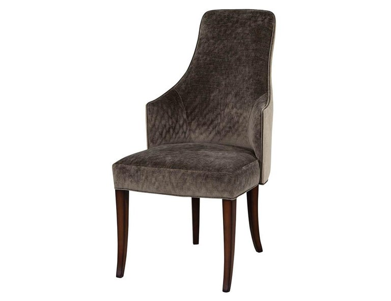 Canadian Set of 8 Modern Sleek Upholstered Dining Chairs For Sale