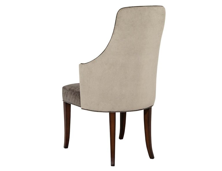 Set of 8 Modern Sleek Upholstered Dining Chairs For Sale 1