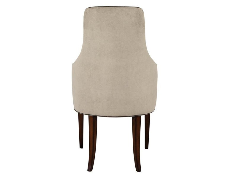 Set of 8 Modern Sleek Upholstered Dining Chairs For Sale 2