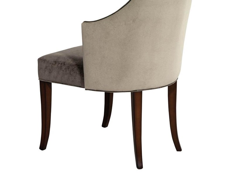 Set of 8 Modern Sleek Upholstered Dining Chairs For Sale 3