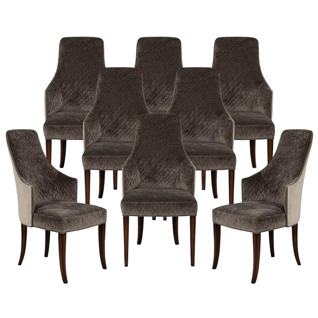Set of 8 Modern Sleek Upholstered Dining Chairs