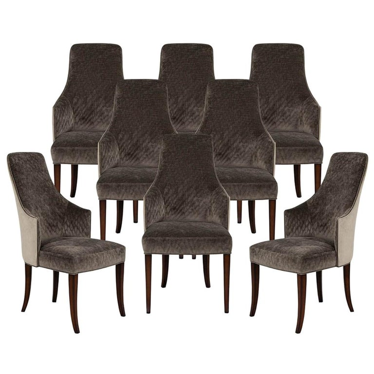 Set of 8 Modern Sleek Upholstered Dining Chairs For Sale