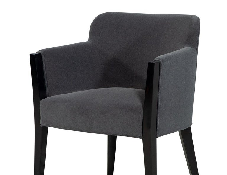 Wood Set of 8 Modern Upholstered Dining Chairs by Carrocel For Sale