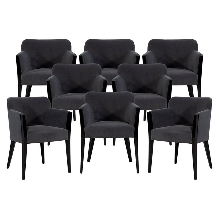 Set of 8 Modern Upholstered Dining Chairs by Carrocel For Sale
