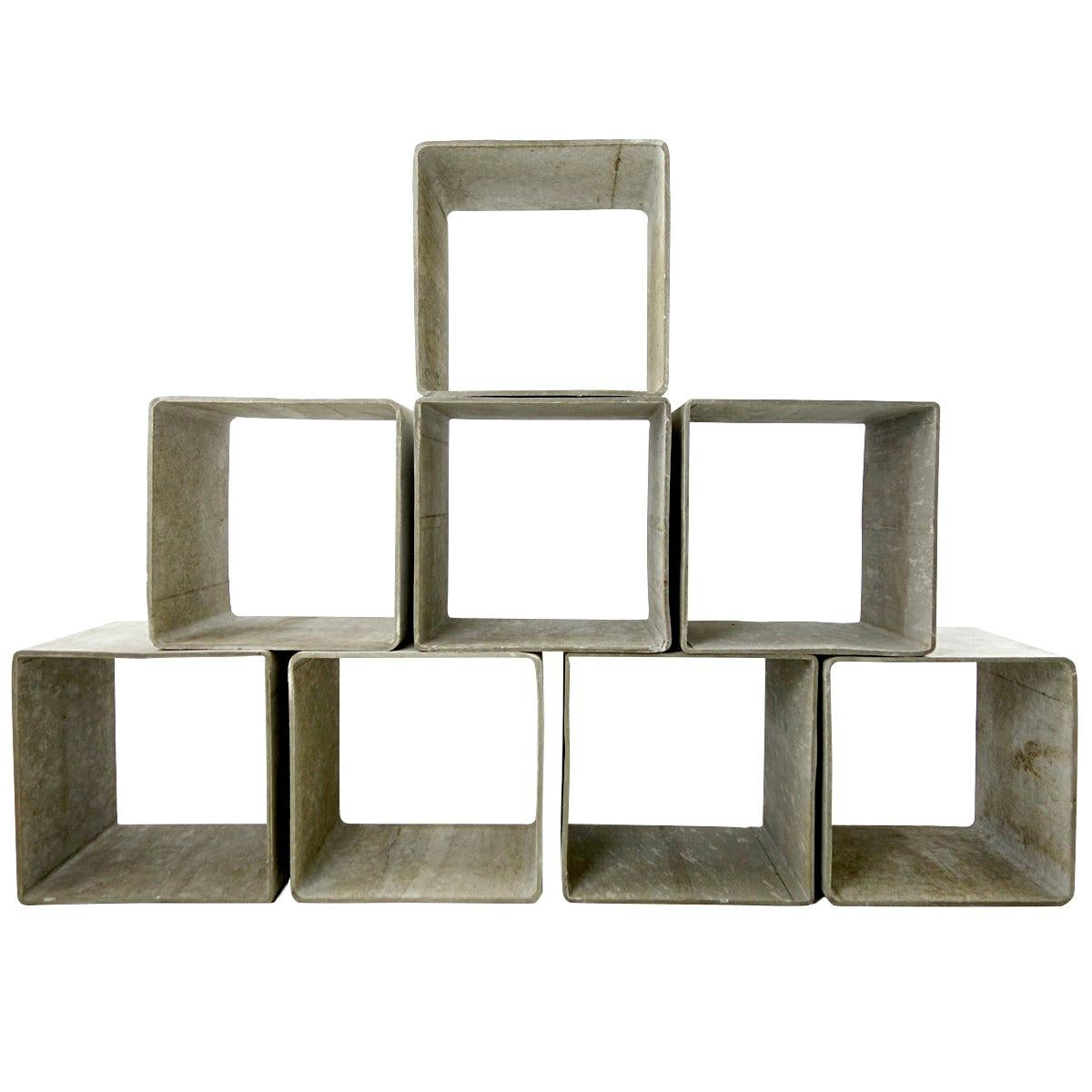 Set of 8 Modular Cement Cubes by Willy Guhl for Eternit