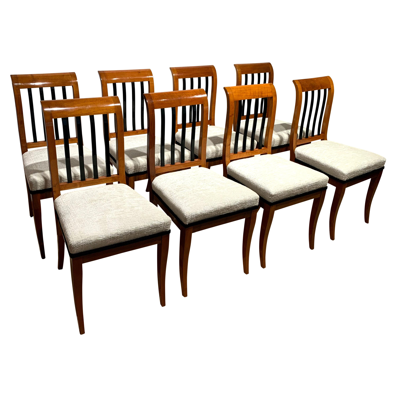 Set of 8 Neoclassical Biedermeier Chairs, Walnut, South Germany, circa 1825