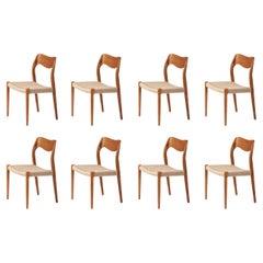 Set of 8 Niels Møller Model 71 Oak Dining Chairs