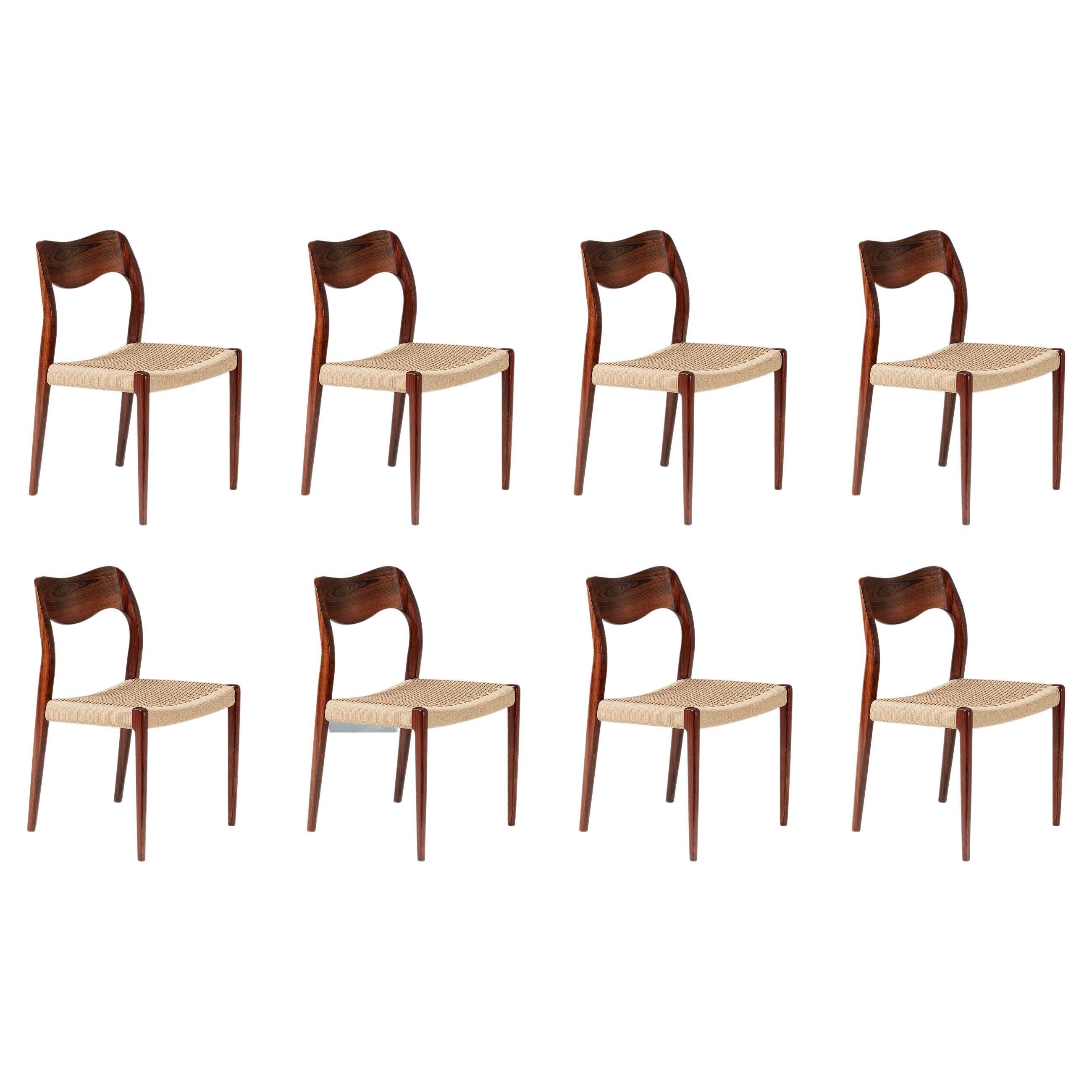 Set of 8 Niels Møller Model 71 Rosewood Dining Chairs