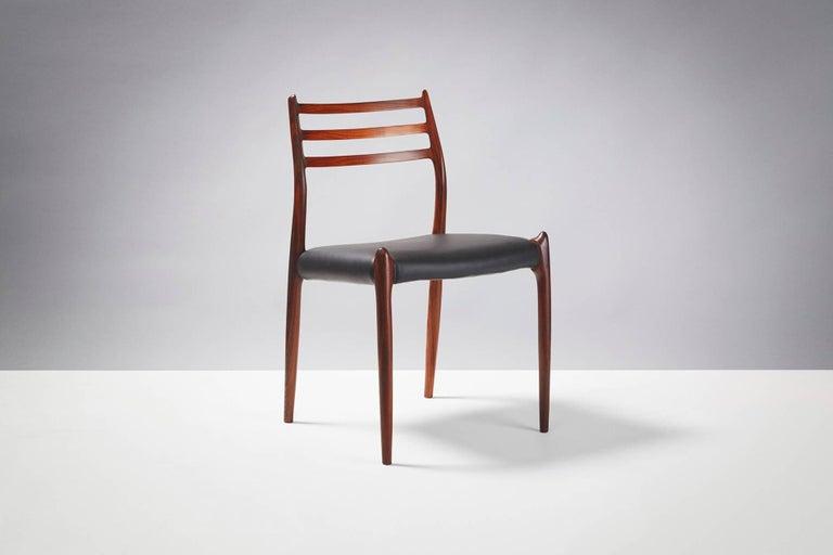 Scandinavian Modern Set of 8 Niels Møller Model 78 Rosewood Dining Chairs, 1962 For Sale