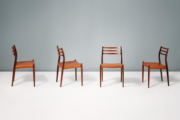 Scandinavian Modern Set of 8 Niels Møller Model 78 Rosewood Dining Chairs, 1962 For Sale