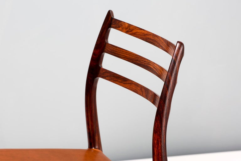 Set of 8 Niels Møller Model 78 Rosewood Dining Chairs, 1962 In Excellent Condition For Sale In London, GB