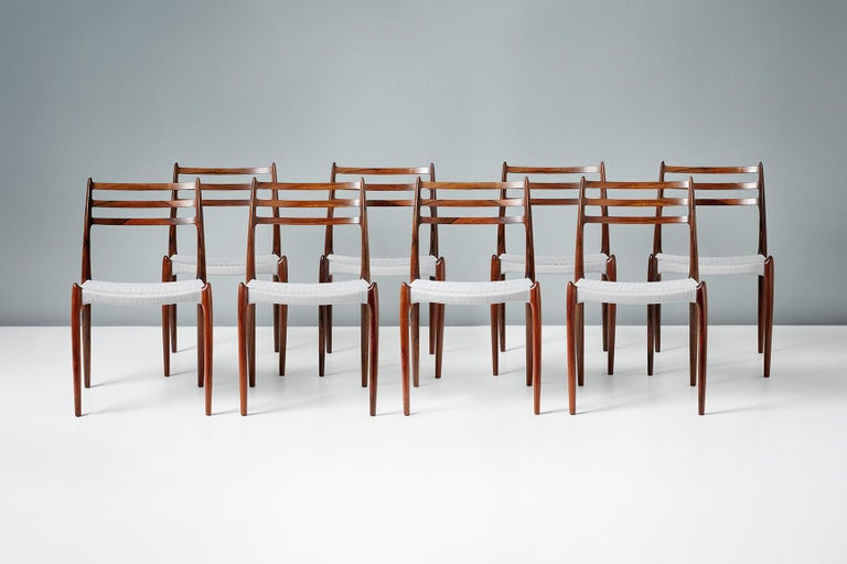 Mid-20th Century Set of 8 Niels Møller Model 78 Rosewood Dining Chairs, 1962 For Sale
