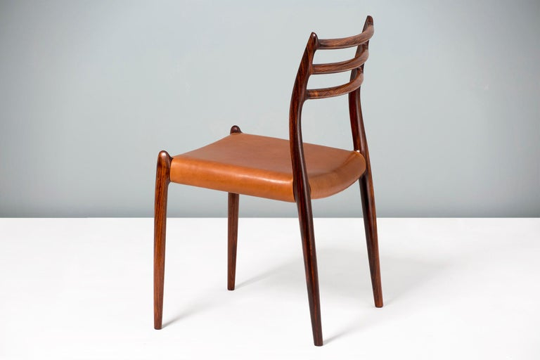 Leather Set of 8 Niels Møller Model 78 Rosewood Dining Chairs, 1962 For Sale