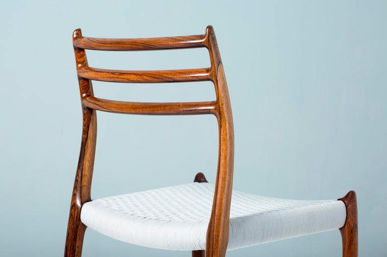 Cotton Set of 8 Niels Møller Model 78 Rosewood Dining Chairs, 1962 For Sale