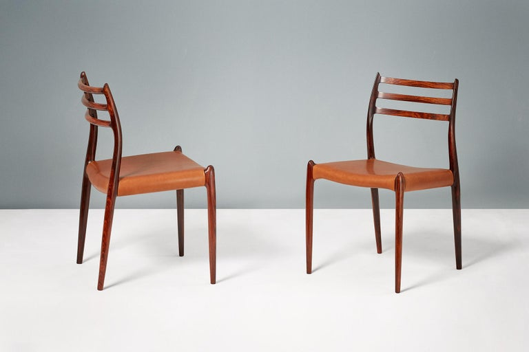 Set of 8 Niels Møller Model 78 Rosewood Dining Chairs, 1962 For Sale 1