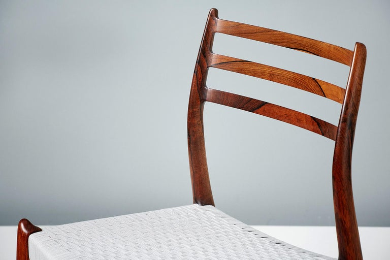 Set of 8 Niels Møller Model 78 Rosewood Dining Chairs, 1962 For Sale 3