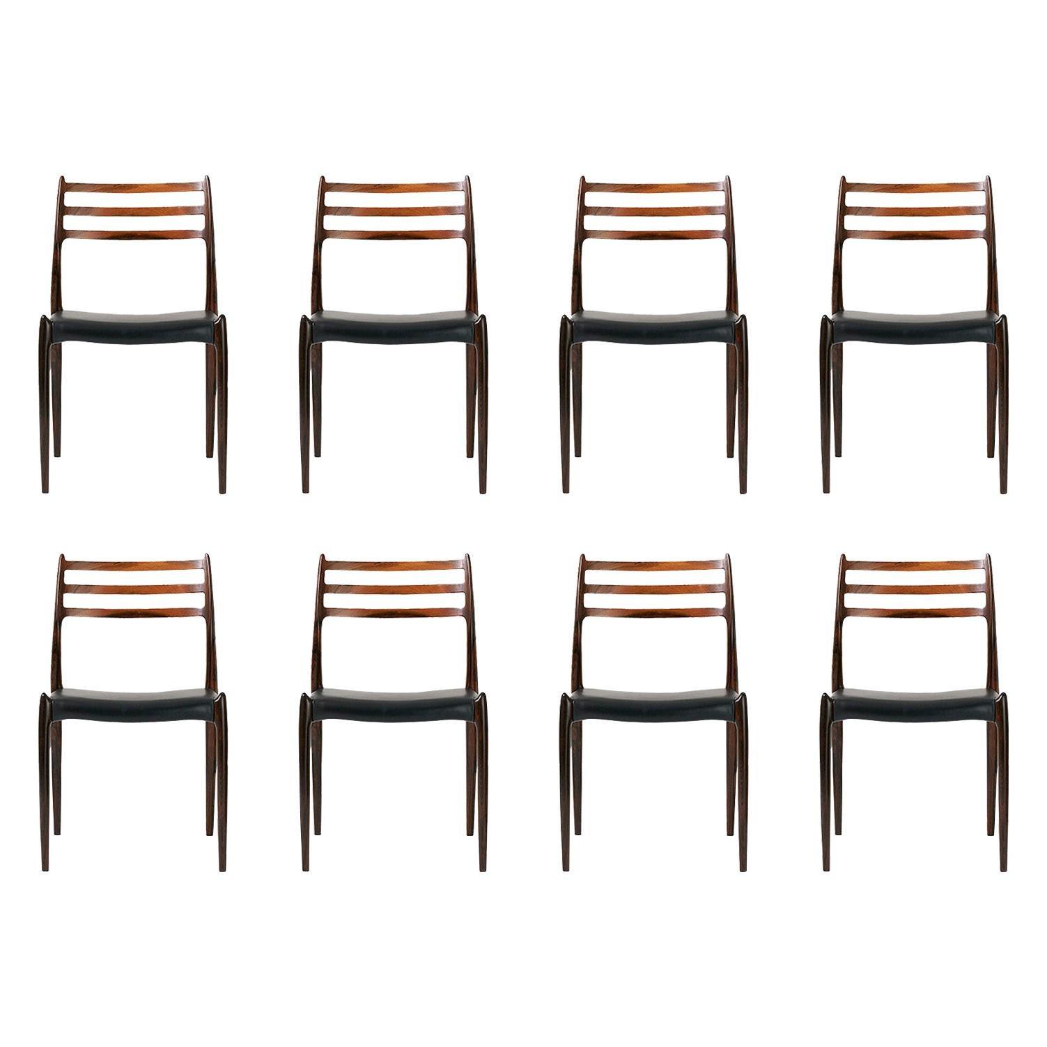 Set of 8 Niels Møller Model 78 Rosewood Dining Chairs, 1962