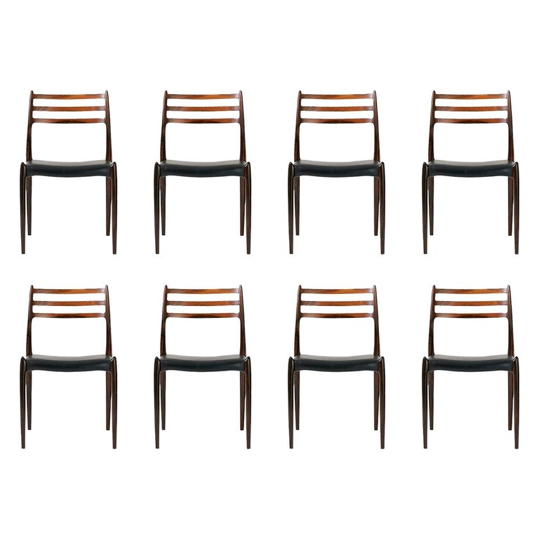 Set of 8 Niels Møller Model 78 Rosewood Dining Chairs, 1962 For Sale
