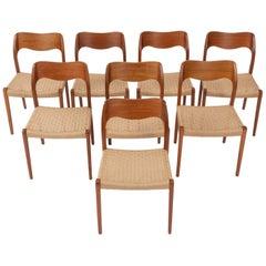 Set of 8 Niels Møller No. 71 Teak Dining Chairs