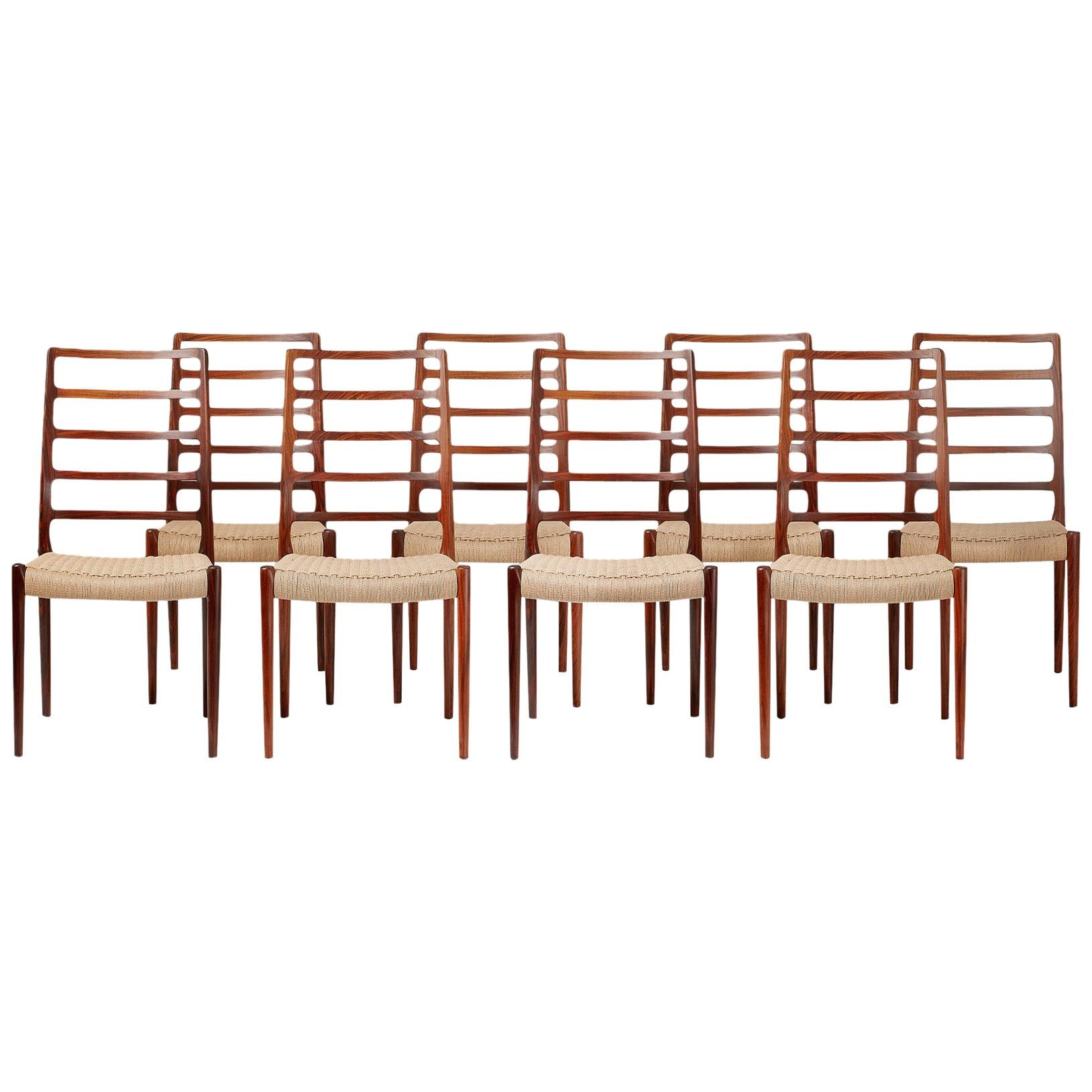 Set of 8 Niels O. Møller Model 82 Rosewood Dining Chairs, 1970