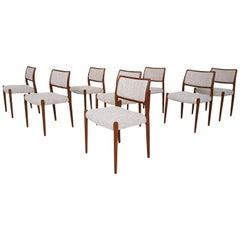 Set of 8 Niels Otto Møller Dining Chairs Model 80, Denmark, 1960s