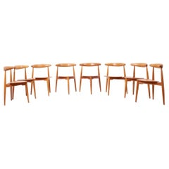Set of 8 Oak and Teak Heart Chairs by Hans Wegner for Fritz Hansen