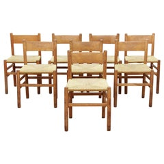Set of 8 Oak and Rush Dining Chairs by Johan Van Heuvel for Ad Vorm, 1960s