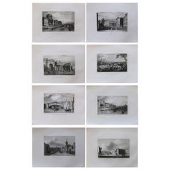 Set of 8 Original Antique Prints of Dublin, Ireland, circa 1830