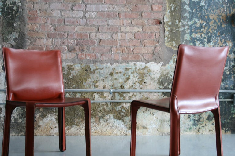 Set of 8 Original Leather 'Cab' Chairs by Mario Bellini for Cassina Italy For Sale 4