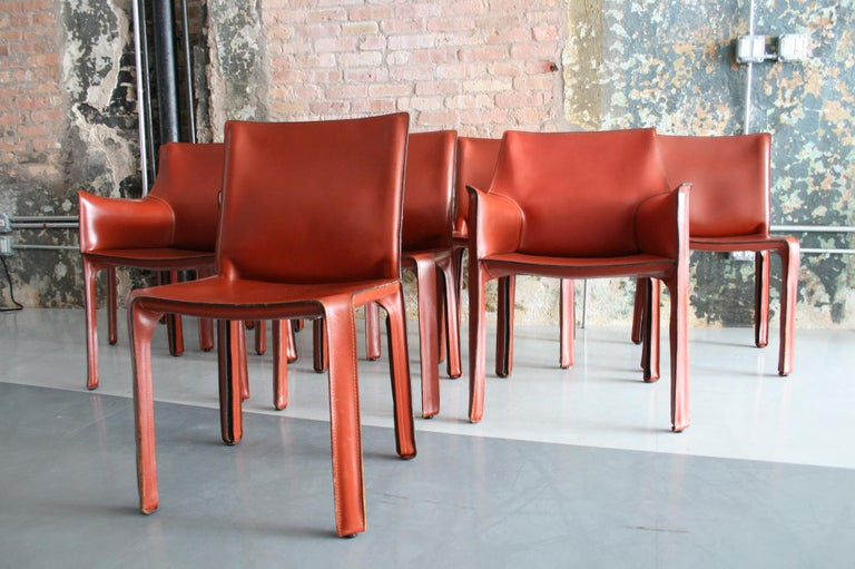 Mid-Century Modern Set of 8 Original Leather 'Cab' Chairs by Mario Bellini for Cassina Italy For Sale