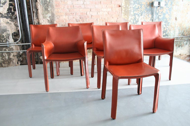 Italian Set of 8 Original Leather 'Cab' Chairs by Mario Bellini for Cassina Italy For Sale
