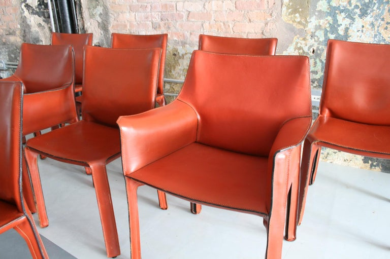 Set of 8 Original Leather 'Cab' Chairs by Mario Bellini for Cassina Italy In Good Condition For Sale In Chicago, IL