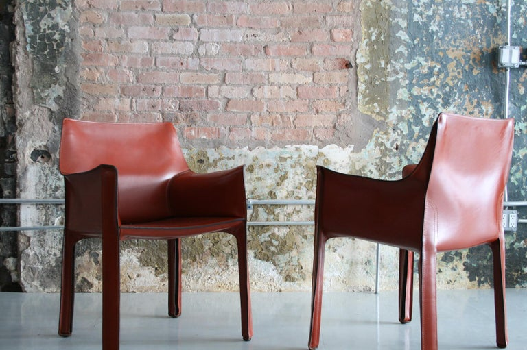 Set of 8 Original Leather 'Cab' Chairs by Mario Bellini for Cassina Italy For Sale 1