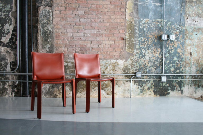 Set of 8 Original Leather 'Cab' Chairs by Mario Bellini for Cassina Italy For Sale 2