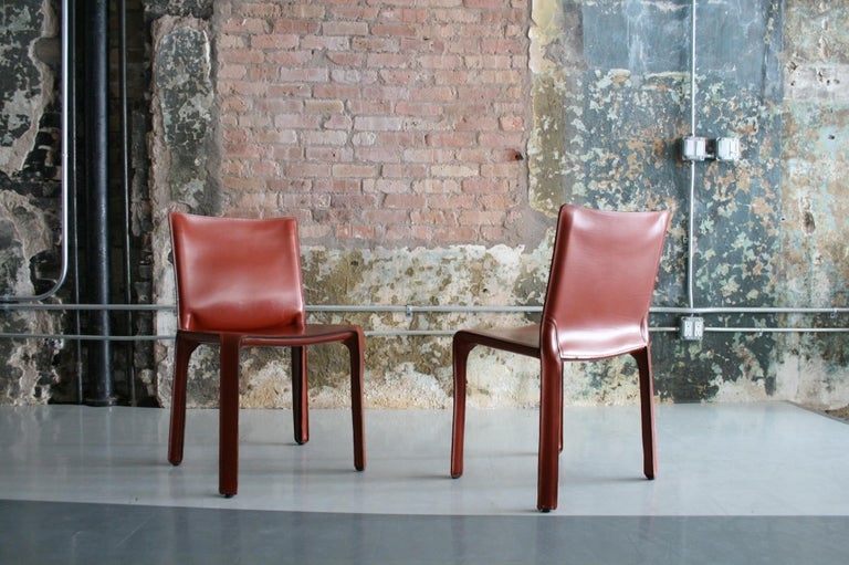 Set of 8 Original Leather 'Cab' Chairs by Mario Bellini for Cassina Italy For Sale 3