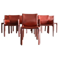 Set of 8 Original Leather 'Cab' Chairs by Mario Bellini for Cassina Italy