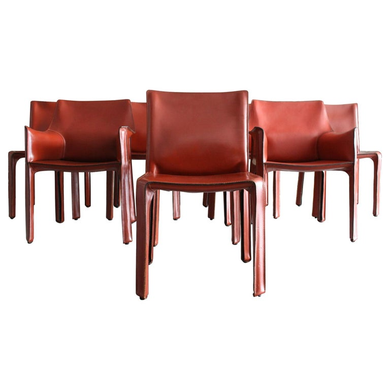Set of 8 Original Leather 'Cab' Chairs by Mario Bellini for Cassina Italy For Sale